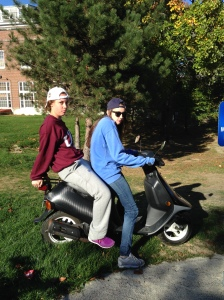 Hannah and Julie as Two Dudes One Moped