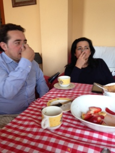 We had a spoon-on-nose competition at lunch the other day. Javier and Beatriz got serious.